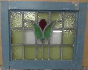 Old English Leaded Stained Glass Window Gorgeous Bordered Floral 20 25 X 16 5