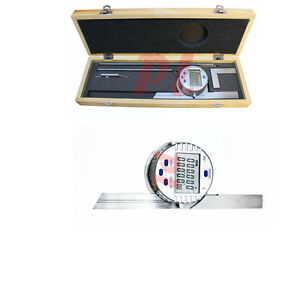 Electronic Digital Protractor Stainless Steel 6 12 Blade 0 360 Degree 30 Res