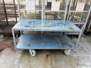 Commercial Industrial Vintage Heavey Duty Blue Cart Push Pull Hand Truck