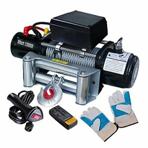 Classic 12000lbs 12v 6 6 Electric Recovery Winch Truck Suv Durable Remote Contro