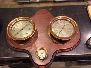 Early 1900 s Steam Punk Industrial Steam Gage Display Board