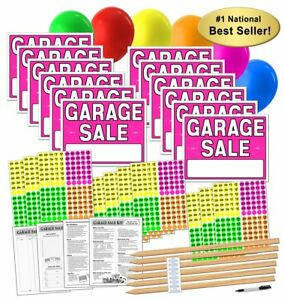 Garage Sale Sign Kit With Pricing Stickers And Wood Sign Stakes A802g