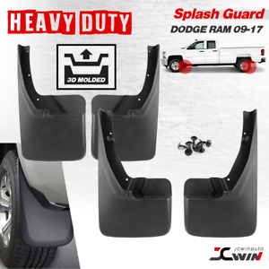 2009 Thru 2017 Dodge Ram Molded Splash Guards Mud Flaps 4 Piece Front Rear