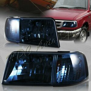 For 1993 1997 Ford Ranger Smoke Lens 2 in 1 Head Lights amber Reflector Lamps