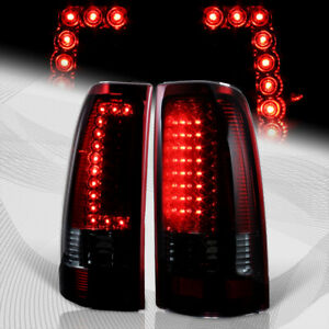 For 1999 2006 Gmc Sierra 1500 2500 3500 C style Led Red smoke Tail Lights Lamps