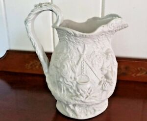 Antique Pitcher Jones Walley Parian Ware Staffordshire 1842 1850 Excellent Htf