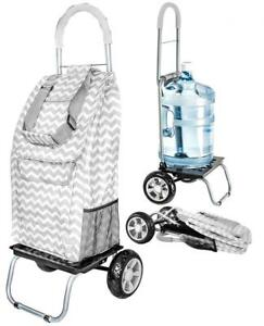 Dbest Products Trolley Dolly Grey Chevron Shopping Grocery Foldable Cart
