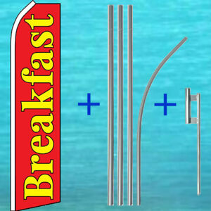 Breakfast Flutter Flag Pole Mount Kit Tall Curved Swooper Feather Banner Sign