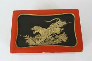 Vintage Japanese Lacquer Hinged Box With Brass Tiger On Lid