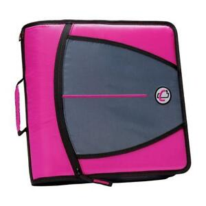 Case it Mighty Zip Tab 3 inch Zipper Binder Magenta D 146 mag