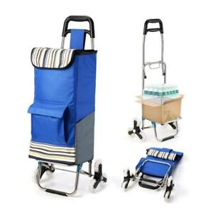 Upgraded Folding Shopping Cart Stair Climbing Grocery Utility Stainless