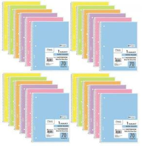Mead Spiral Notebook Wide Ruled 1 Subject Assorted Pastel Colors 24 Pack