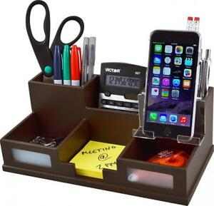 Victor Wood Desk Organizer With Smart Phone Holder Mocha Brown B9525