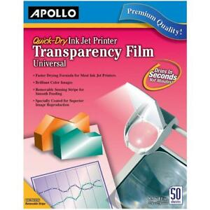 Apollo Transparency Film For Inkjet Printers Universal Quick Dry 50