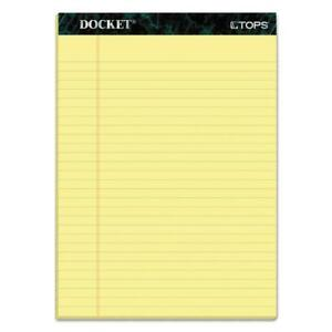 Tops Docket Writing Pads 8 1 2 X 11 3 4 Legal Rule Canary Paper 50