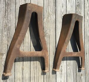 Old Vtg Antique Industrial Iron Table Machine Base Leg Metal Heavy Pair Set Of 2