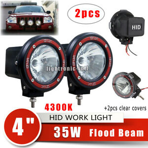2pcs 4300k 4 35w H3 Hid Xenon Work Light Flood Driving Light Offroad Truck Atv