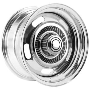 4 Vision Rally 57 15x8 5x4 75 6mm Chrome Wheels Rims With Caps