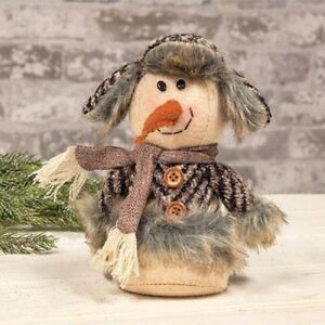 Country Small Plush Sitting Snowman Doll Rustic Primitive Farmhouse Christmas