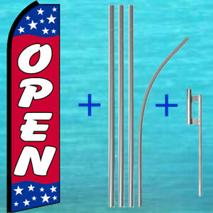 Open Flutter Flag Pole Mount Kit Tall Curved Top Feather Swooper Banner Sign