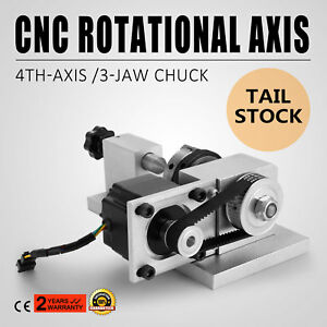 Cnc Router Rotational Rotary 4th Axis 3 Jaw Chunk For Bamboo 57 Stepper Motor