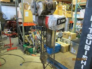 Coffing 5 Ton Electric Chain Hoist Ec 10008 3 15 Foot Lift 460v 3 Phase