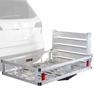 Aluminum 59 Cargo Carrier Hitch Mounted Basket 500 Lb Capacity