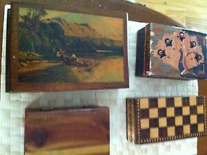Lot Of 4 Vtg Sm Wood Storage Trinket Boxes Peacock Checkerboard Barricini