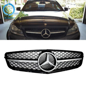 Mercedes C63 Amg Style Chrome Black Grill For C Class Benz W204 C300 C350 08 14