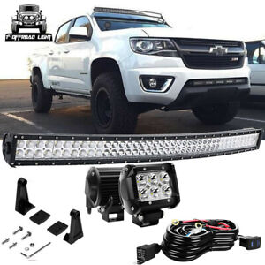 40 42 Inch Curved Led Light Bar Offroad Chevy Colorado Upper Roof Windshield