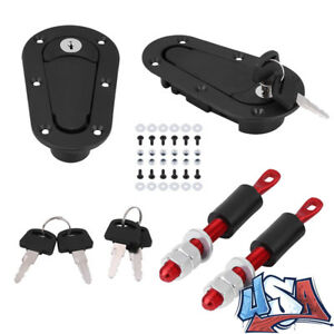 Jdm Carbon Fiber Hood Pin Plus Flush Mount Latch Kit Lock With 4 Keys Universal