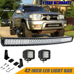 For Toyota 4runner Upper Roof Windshield 40 42 Inch Curved Led Light Bar Kit