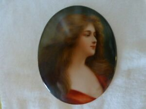 Painted Porcelain Plaque Signed Wagner Antique Miniature
