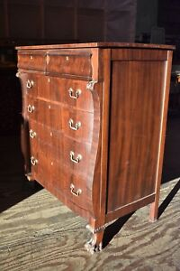 Antique Vintage Chest Of Drawers Bedroom Dresser Paw Feet Empire Style
