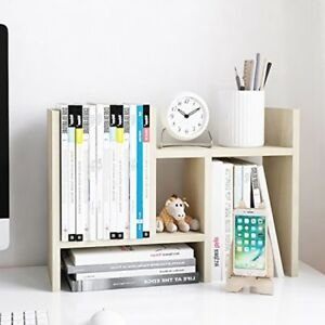 Adjustable Wood Display Office Desktop Stand Shelf Organizer White Wood Tone
