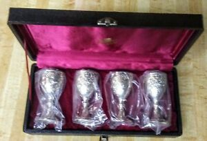 Set Of Four Corbell Silver Cordial Goblets