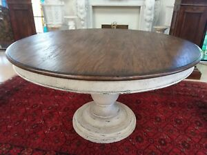 Antique American Walnut 54 Round Dining Table With Painted Pedestal Base Center