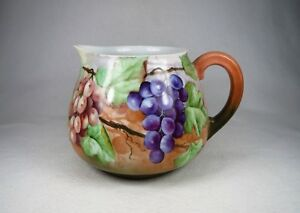 Splendid 1902 T V Limoges France Artist Signed Large Pitcher Hand Painted Grapes