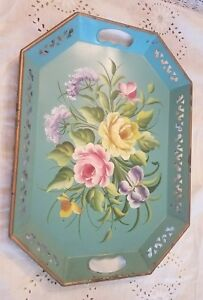 Antique Hand Painted Tole Ware Tray Teal Roses Pilgram Art Shabby Victorian Chic