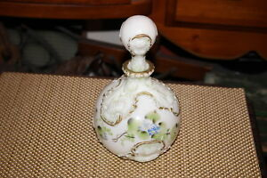 Antique Victorian Barbershop Milk Glass Decanter 1 Flowers Raised Patterns