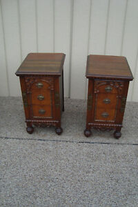 59200 Pair Antique Walnut Nightstand End Table Stand S