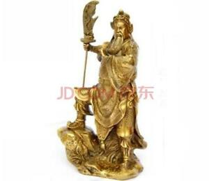 China Brass Stand Stone Warrior God Guangong Guanyu Hold Dragon Sword Statue