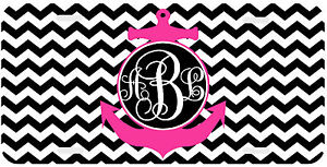Personalized Monogrammed License Plate Auto Car Tag Chevron Anchor Hot Pink