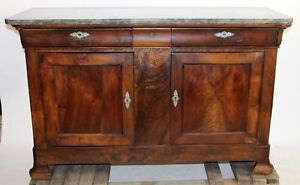 Antique French Louis Philippe Buffet Sideboard Chest Flame Mahogany Empire 63 5