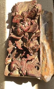 Fine Chinese Antique Carved Red Gilt Panel In Relief Ornate Roses Dragon