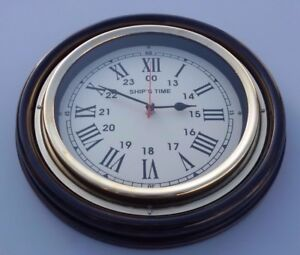 Wooden Brass Ship S Time Vintage Office Home Decorative Wall Clock Working 10