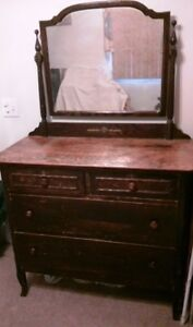 Antique Wood Dresser With 4 Drawers And Mirror Refinished
