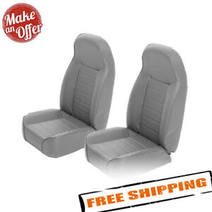 Smittybilt 44911 Pair Of Gray Denim Front Bucket Seats 76 17 Jeep Wrangler Cj