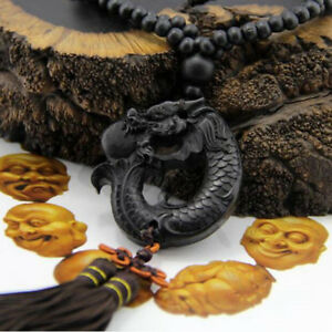 Ebony Wood Carving Chinese Fengshui Dragon Sculpture Prayer Beads Lucky Pendant