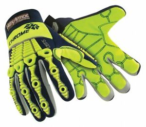 Hexarmor Cut Resistant Gloves High Visibility Yellow Navy 4027 m 8